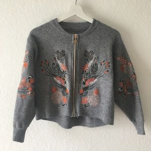 Gray Embroidered Cropped Sweater